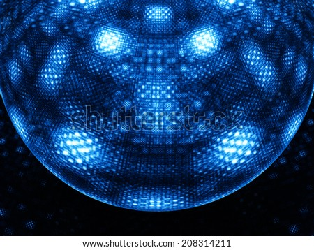 Blue sphere object, computer generated abstract background - stock photo