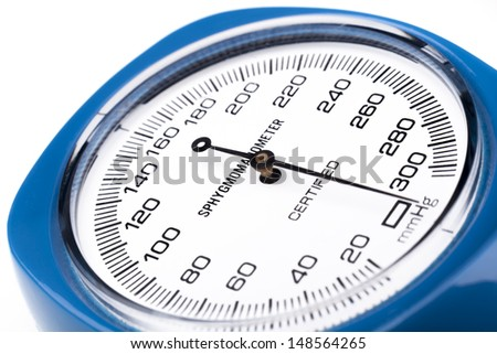 Blue Sphygmomanometer close-up diagonal view isolated on white background