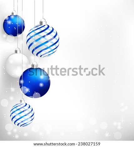 Blue spiral christmas balls hang on white background - stock photo
