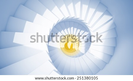 Blue spiral stairs in sun light and yellow center abstract 3d interior - stock photo
