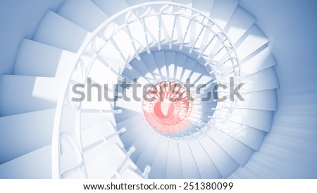 Blue spiral stairs with rails in sun light and red center abstract 3d interior - stock photo