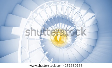 Blue spiral stairs with rails in sun light and yellow center abstract 3d interior - stock photo