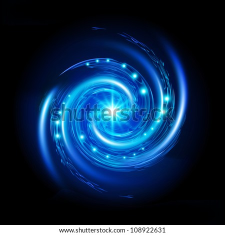 Blue Spiral Vortex with Stars. Illustration on black background - stock photo