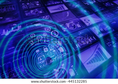 Blue spiral with bright light against screen collage showing business images
