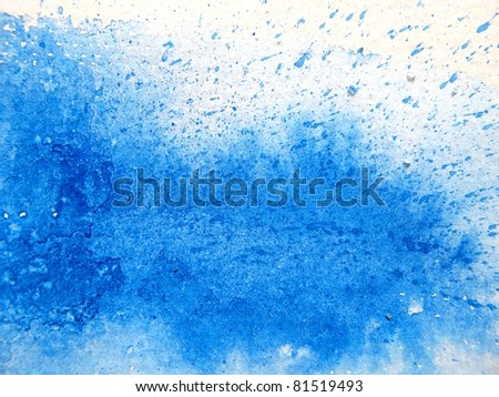 Blue Splash Watercolor Background - stock photo