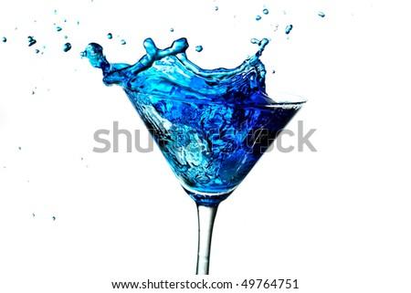 blue splashing cocktail - stock photo