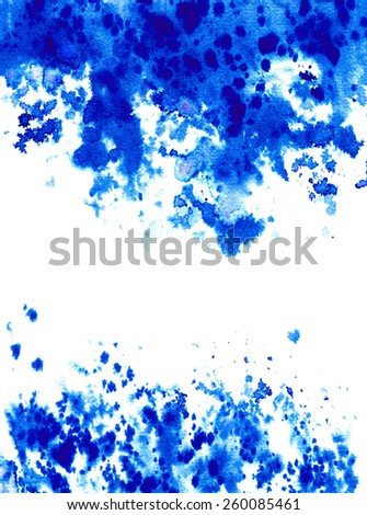 Blue Splattered Watercolor Background. Abstract hand painted grunge background - stock photo
