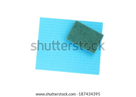 Blue sponge and cloth for cleaning. Isolated on white.                                - stock photo
