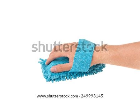 Blue Sponge for cleaning and polishing  in hand on White Isolated background - stock photo
