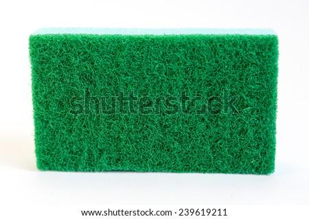 Blue sponge isolated on white. - stock photo