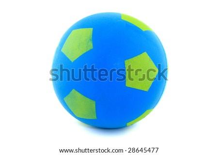 Blue sponge soccer ball isolated on white - stock photo
