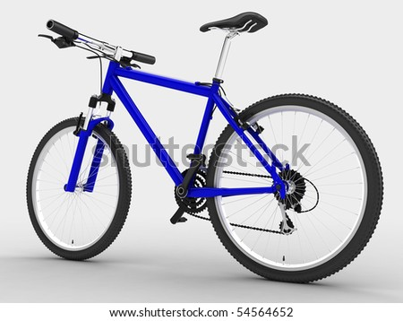 Blue sport bicycle. Isolated on light background