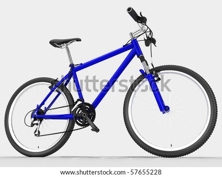 Blue sport bicycle. On the light background