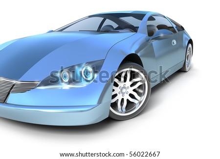 Blue sport car .3D image. My own design - stock photo