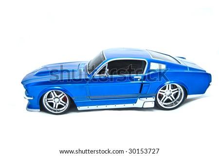 Blue sport car on white - stock photo