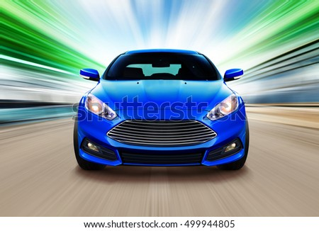 blue sport race car on speed track - motion blur