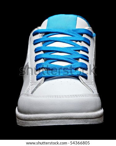 Blue sport shoe isolated on black background - stock photo