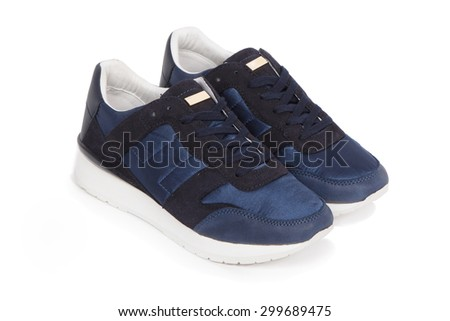 blue sport shoes - stock photo