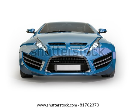 Blue sports car isolated on white background. Non branded concept car. - stock photo