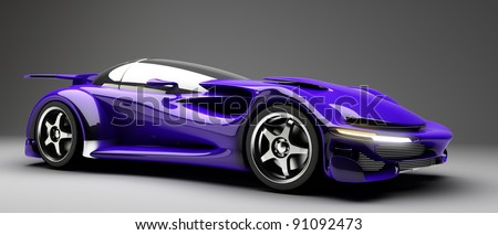 blue Sports car road-star 3d render (No trademark issues as the car is my own design) - stock photo