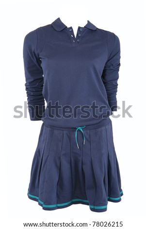 Blue sports dress isolated on white