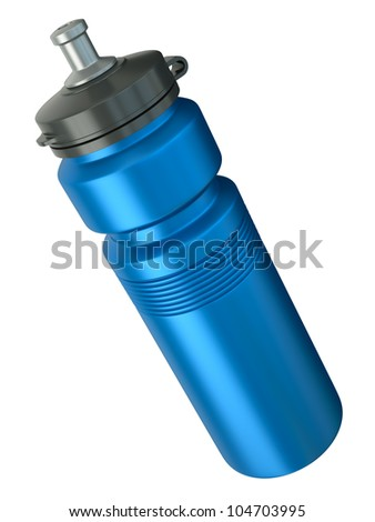 Blue sports water bottle. 3D render. - stock photo