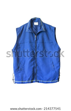 Blue sports zipped vest isolated over white - stock photo