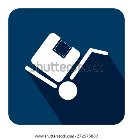 Blue Square Delivery or Shipping Long Shadow Style Icon, Label, Sticker, Sign or Banner Isolated on White Background - stock photo