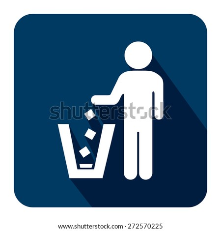 Blue Square Dustbin, Litter Bin or Trash Can Long Shadow Style Icon, Label, Sticker, Sign or Banner Isolated on White Background - stock photo