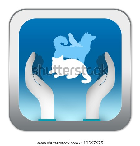 Blue Square Glossy Style Love Pet Sign With Hand and Pet For Pet Rescue Campaign Isolated on White Background - stock photo