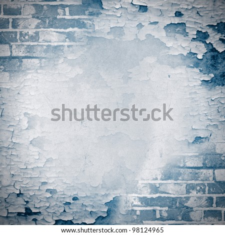 Blue square grunge background - cracked paint and brick wall. Page to design photo books - stock photo