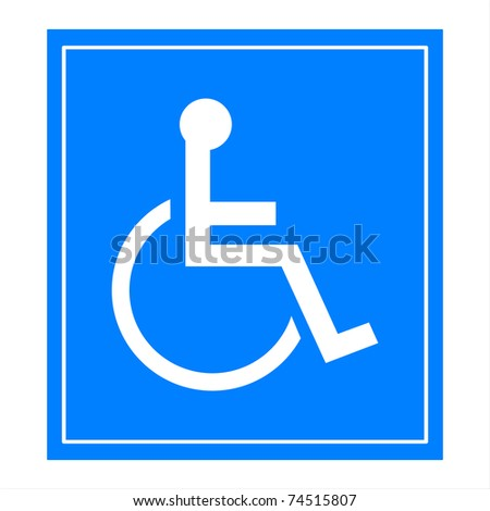 Blue square handicap sign with wheelchair - stock photo