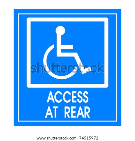 Blue square handicap sign with wheelchair  access at rear - stock photo