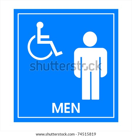 Blue square handicap sign with wheelchair  man - stock photo