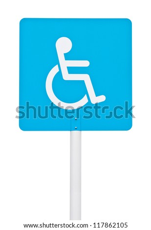 blue square handicap sign with wheelchair on post pole (isolated on white background) - stock photo