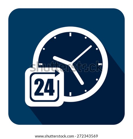Blue Square 24 Hours Service, Open 24 Hours Long Shadow Style Icon, Label, Sticker, Sign or Banner Isolated on White Background - stock photo