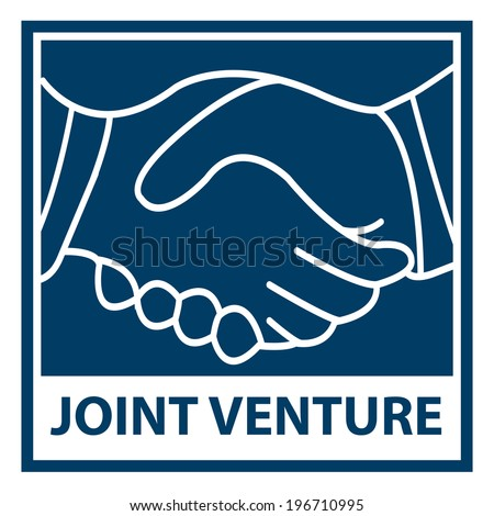Blue Square Joint Venture Icon, Sticker or Label Isolated on White Background - stock photo