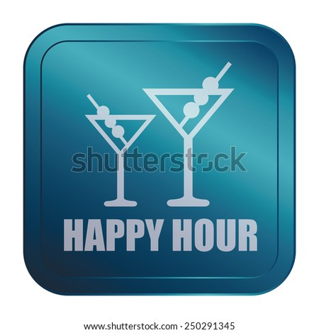 Blue Square Metallic Style Happy Hour Sticker, Label, Button or Icon Isolated on White Background  - stock photo