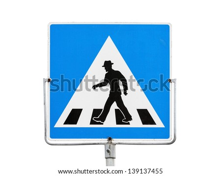 Blue square pedestrian crossing sign on metal pole isolated on white - stock photo