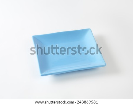 blue square plate on white background