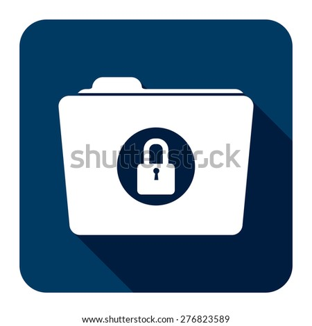 Blue Square Secret, Security, Folder With Key Lock Flat Long Shadow Style Icon, Label, Sticker, Sign or Banner Isolated on White Background - stock photo