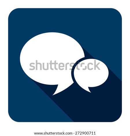 Blue Square Speech Bubble Long Shadow Style Icon, Label, Sticker, Sign or Banner Isolated on White Background - stock photo
