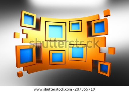 Blue squares in yellow frames as part of abstract bended shape on silver background - stock photo