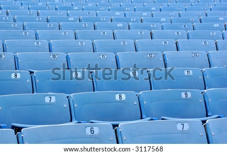 Blue Stadium Seating Rows - stock photo