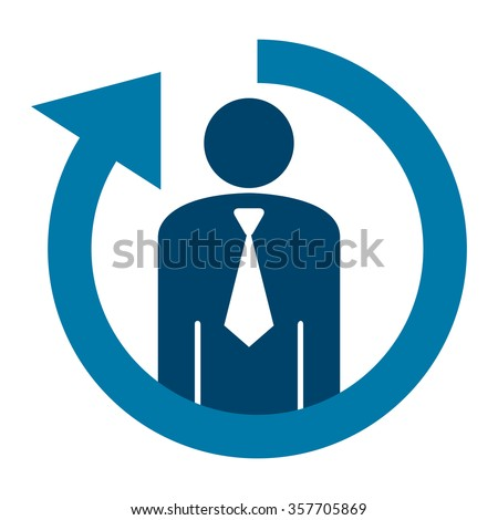 Blue Staff or Employee Turnover Infographics Flat Icon, Sign Isolated on White Background  - stock photo