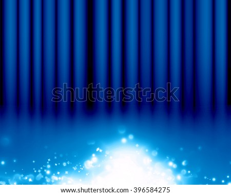 Blue stage background - stock photo