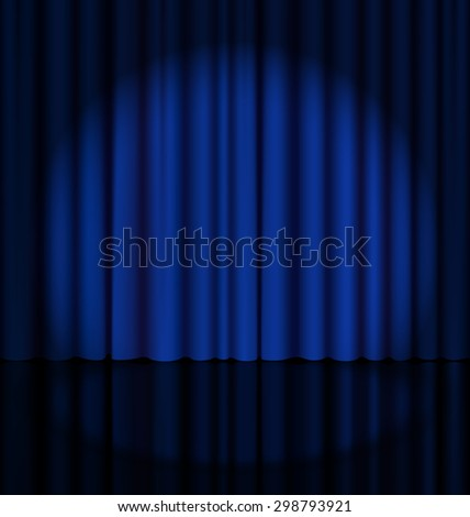 Blue Stage Curtain with Light Spot - stock photo