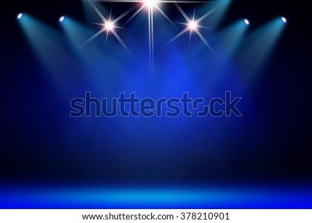 Blue stage light background - stock photo