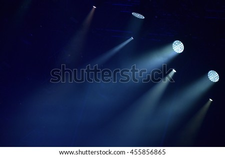 Blue stage lights, light show at concert