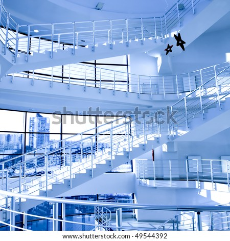 Blue stair in modern office centre - stock photo